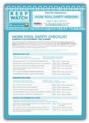 Home pool safety checklist fact sheets for Home safety facts